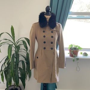 [ Burberry ] Wool + Cashmere Winter Coat Steampunk Street Black Fox Fur
